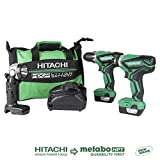 Hitachi KC10DFL2 12-Volt Peak Cordless Lithium Ion Driver Drill and Impact Driver Combo Kit (Lifetime Tool Warranty)