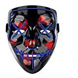 Yostyle Halloween Scary Mask Cosplay Led Costume Mask EL Wire Light up for Halloween Festival Party Blue