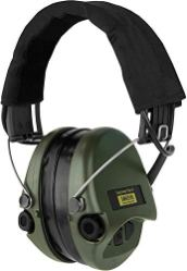 Sordin-Supreme-PRO-X-Active-Electronic-Hearing-Protection-with-Gel-Seals-Black-Headband-and-Green-Cups