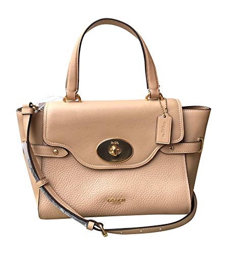 """81EF%2BF3%2BNwL Smooth leather and pebble leather with hardware Inside multifunction pockets; fabric lining Turnlock and zip closures; top handle with 4.75"""" drop"""