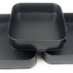 Set of 3 Square Non Stick Spring Form Baking Cake Tin Tray Pan Moulds 41EMPS5 IHL