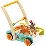 cossy Wooden Baby Learning Walker Toddler Toys for 1 Year Old Rabbit and Roll Cart Push and Pull Toy