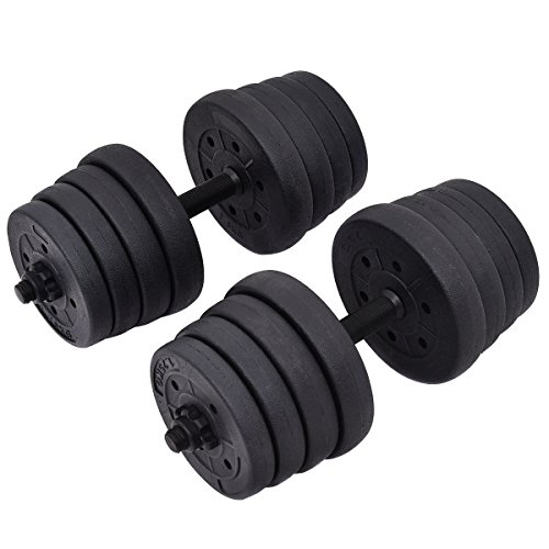 Giantex 66LB Weight Dumbbell Set Adjustable Cap Gym Barbell Plates Body Workout Training