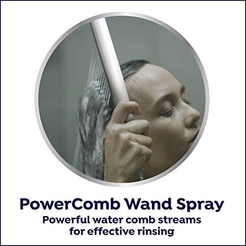 Waterpik High Pressure Hand Held Wand and Rain Shower Head Combo with Hose-BodyWand Spa System, Chrome 15