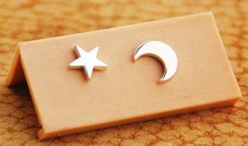 Aretes De Plata Luna Y Estrella, Brillosas