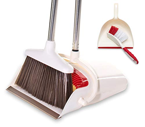 BristleComb Broom and Dustpan Set - Variable Handle Length Broom and Dustpan - Includes: Hand Brush and Dustpan Combo - Lightweight and Upright Stand for Cleaning Your Kitchen, Home, and Lobby (Red)