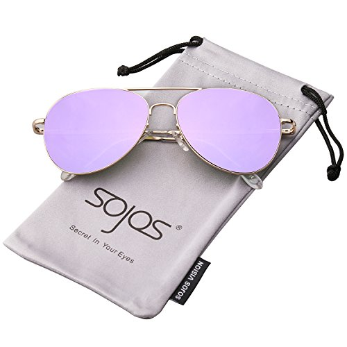 ae8c1fd4dcc SojoS Classic Aviator Mirrored Flat Lens Metal Frame with Spring ...
