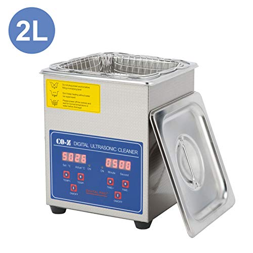 CO-Z 2L Professional Ultrasonic Cleaner with Digital Timer&Heater for Jewelry Glasses Watch Dentures Small Parts Circuit Board Dental Instrument, Industrial Commercial Ultrasound Cleaning Machine
