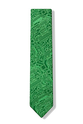 Microfiber Green Computer Science Circuit Board Geek Narrow Skinny Necktie Neck Tie Neckwear
