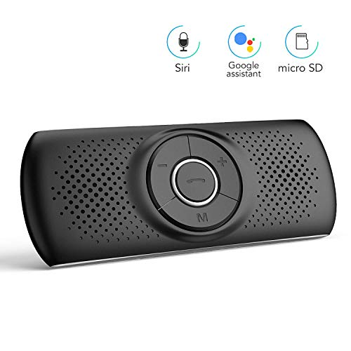 AGPTEK Bluetooth Visor Speakerphone, Wireless Hands Free Car Kit with Siri & Google Assistant Support 2 Cell Phones Bluetooth Connection for Android & iOS (T826, Black)