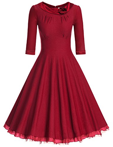 71nphA2nNzL The Scoop Neck is lined with a Rose Satin Ribbon Classy 1950's Style Inspired Rockabilly Dress, making you Look Like A Vintage Princess Concealed zipper at back,Sheath Waist