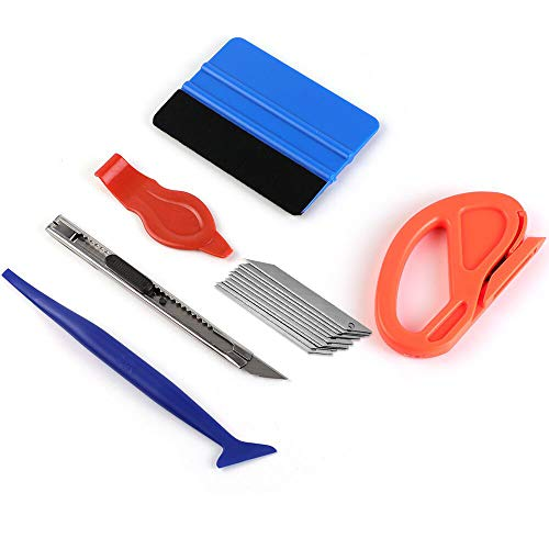 Car Vinyl Wrap Tool kit Including Felt Squeegee,Edge trimmer,MIni Soft Corner Squeegee,Retractable Kinfe and 10pcs Kinfe Blades for Installing Auto wraps and Car Stickers