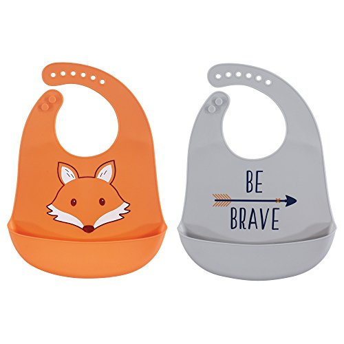 Hudson Baby Baby Silicone, Waterproof Bibs, Fox 2-Pack, One Size