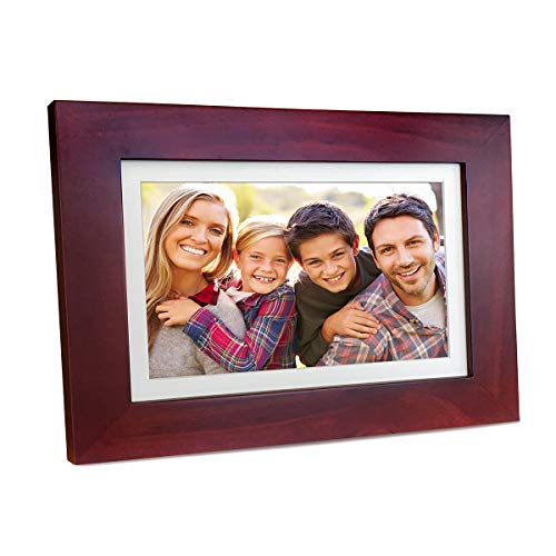 Sonicgrace 8″ Widescreen Wi-Fi Cloud Digital Photo Frame with IPS Display, HD Touch Screen, Full Angle View, 10GB Free Cloud Storage, Real Wood Frame, Russet Brown