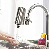 RuiLing Water Faucet Filter System, 304 Stainless Steel housing Faucet Water Purifier, Upgraded Tap Water Mount Filter-Double Outlet Faucet Filtration Design to Improve Hard Water for Home Kitchen