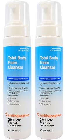 Secura Total Body Antimicrobial Foam Cleanser - 8.5 Ounce Bottle - Pack of 2