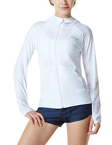 Tesla TM-FSZ02-WHT_Small Women's UPF 50+ Hoodie Zip Front Long Sleeve Top Rashguard Swimsuit FSZ02