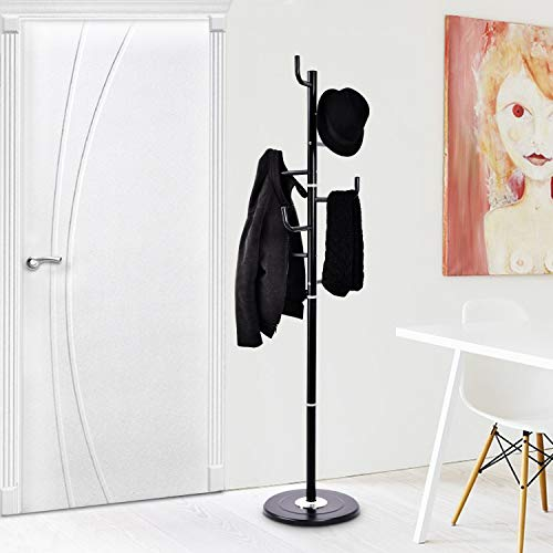 Tangkula Coat Rack Metal Frame Study Portable Free Standing Entryway Hat Coat Jacket Umbrella Holder Hanger with Base Coat Tree Stand (Black)