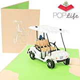 PopLife Golf Cart Pop Up Card - 3D Father's Day Card, Happy Anniversary, Valentine's Day card for Him, Birthday Popup, Retirement - Golfing Gift for Husband, Card for Golfers - for Son, for Father