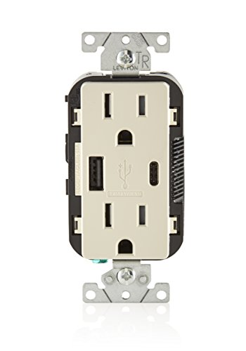 Leviton T5633-T 15-Amp Type-C USB Charger/Tamper Resistant Receptacle, Light Almond