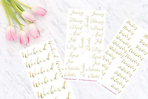 Foiled Weekend Banners, Months of the year and Days of the Week Functional Planner Stickers in Gold, Rose Gold & Silver for All Planner Types Erin Condren, Notebook Planner Stickers