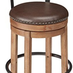 Ashley Furniture Signature Design – Pinnadel Swivel Bar Stool – Pub Height – Light Brown