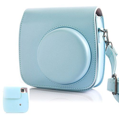 Hellohelio Fujifilm Instax Mini 9/8/8+ Camera Bag, Classic Vintage PU Leather Instax Camera Compact Case for Fujifilm Instax Mini 8/8+Instant Film Camera (Grape)