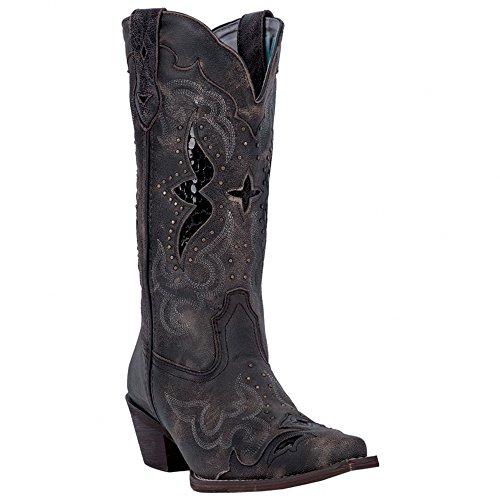 Laredo Womens Black/Tan All Leather Lucretia 13in Snip Toe Cowboy Boots 7.5 W
