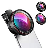 Phone Camera Lens, 0.6X Super Wide Angle Lens, 15X Macro Lens for iPhone Lens Kit, 2 in 1 Clip-On Cell Phone Camera Lens for iPhone 8, X, 7, 7 Plus, 6s, 6, Samsung, Other Smartphones