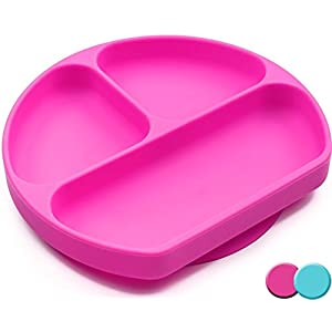 Silicone Suction Plate For Toddlers, BPA Free, Dishwasher, Microwave & Oven Safe, Non Slip, One-piece Divided Baby Placemat, Non Skid Stay Put Bowls & Feeding Dishes For Kids / Infant (Pink)