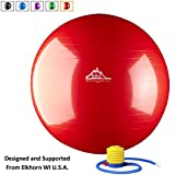 Black Mountain Products Static Strength Exercise Stability Ball with Pump, Red, 75cm/2000 lb