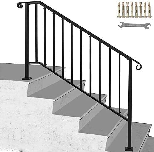 Happybuy Handrail Picket 4 Fits 4 Or 5 Steps Matte Black Stair   Wrought Iron Handrails For Outside Steps   Front Porch   Stair Covering   Metal