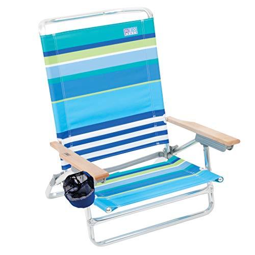 RIO BEACH Classic 5 Position Lay Flat Folding Beach Chair -...