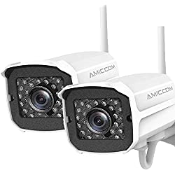 Outdoor Security Camera (2 Pack) ,1080P HD Security Camera System Wireless,Pet Camera,Night Vision, 2-Way Audio,2.4Ghz WiFi Smart Home Camera with MicroSD Slot,iOS, Android App for Office/Baby/Nanny