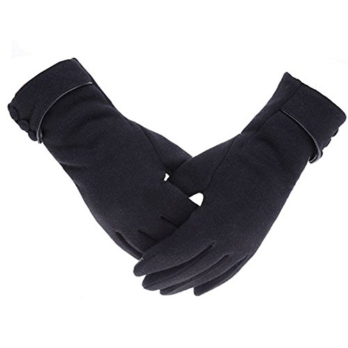 Woogwin Womens Lady Winter Warm Gloves Touch Screen Phone Windproof Lined Thick Gloves (Black)
