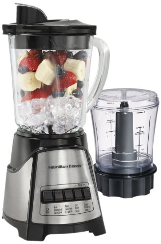 Hamilton Beach 58149 Power Elite Multi-Function Glass Jar Blender, with with 3 Cup, Chopper Attachment