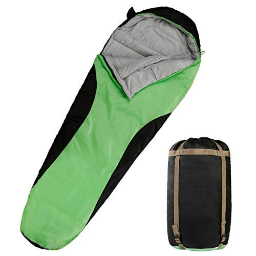 OUTSTAR Lightweight Waterproof Envelope Sleeping Bag with Compression Sack for Kids,Boys, Girls, Teens & Adults. Indoor &Outdoor Camping, Travelling, Hiking & Backpacking (Green & Black/Right Zip)