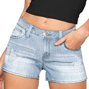 """HyBrid & Company Womens 3"""" Reg/5"""" Plus Inseam Butt Lifting Stretch Twill/Denim Shorts 10 Fashion Online Shop Gifts for her Gifts for him womens full figure"""
