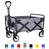 WHITSUNDAY Collapsible Folding Garden Outdoor Park Utility Wagon Picnic Camping Cart with Replaceable Cover (Compact Size 5' Wheels, Grey)