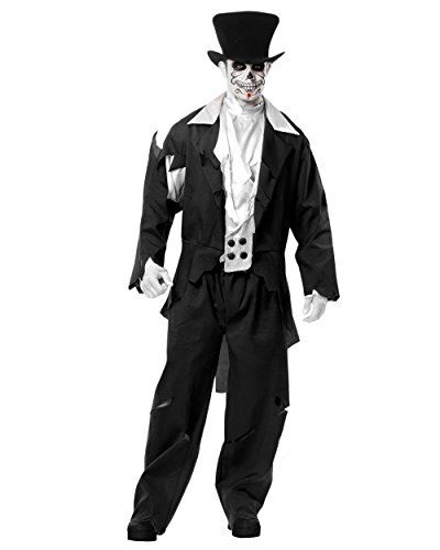 Adult Men's Black Zombie Prom Ghost Wedding Groom Costume (Small 36-38)
