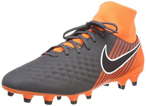 NIKE Men's Magista Obra 2 Academy DF FG Soccer Cleat (Dark Grey, Total Orange)