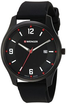 Wenger Men's City Active Stainless Steel Swiss-Quartz Watch with Silicone Strap, Black, 20 (Model: 01.1441.111)