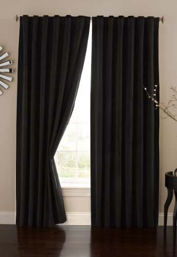 ABSOLUTE ZERO Blackout Curtains for Bedroom - Velvet 50' x 95' Insulated Darkening Single Panel Rod Pocket Window Treatment Living Room, Black