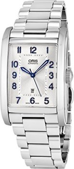 Oris Rectangular Date Mens Silver Face Luminous Hands Swiss Made Stainless Steel Rectangle Automatic Watch 01 561 7693 4031-07 8 22 20