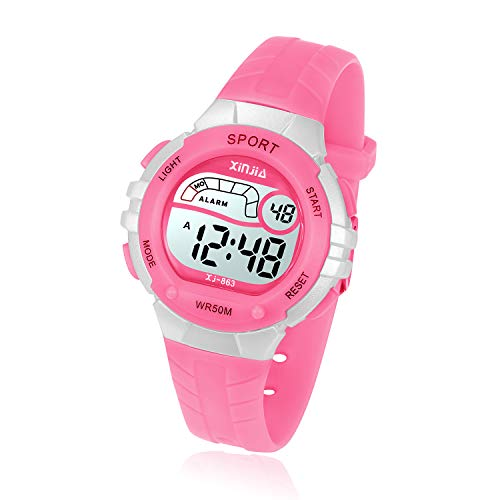 Kids Digital Watch, Girls Boys 50M(5ATM) Waterproof Multi-Functional WristWatches for Children(Pink)