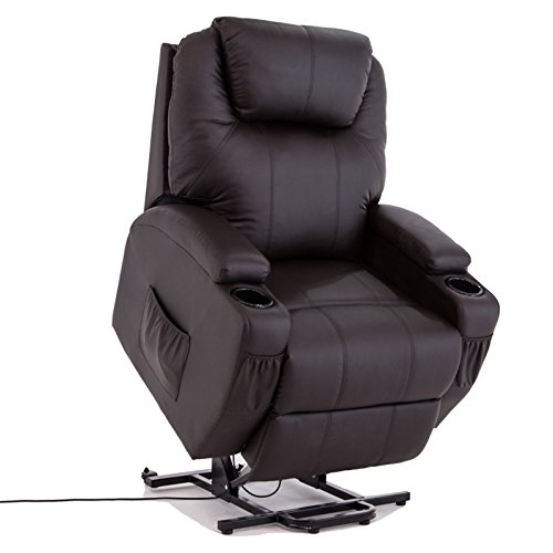 MECOR Power Recliner Position Lift Chair Leather Lounge Chair W/2 Drink Holders Brown