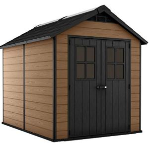 Keter Newton 7.5×9 Large Resin Outdoor Storage Shed Kit – Perfect to Store Patio Furniture, Garden Tools, Bike…