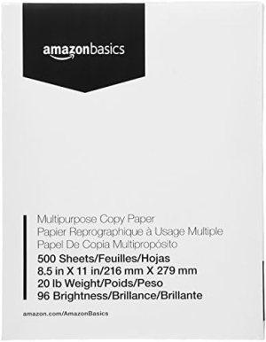 AmazonBasics Multipurpose Copy Printer Paper – 96 Bright White, 8.5 x 11 Inches, 1 Ream (500 Sheets)