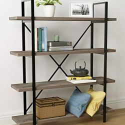 45MinST 4-Tier Vintage Industrial Style Bookcase/Metal and Wood Bookshelf Furniture for Collection, Gray Oak, 3/4/5 Tier…