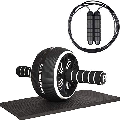 Fitness Invention Ab Roller Wheel - 3-in-1 Ab Wheel Roller with Knee Mat and Jump Rope - Ab Roller Wheel for Abdominal Exercise - Ab Workout - Home Workout Equipment - Abs Wheel Roller - Abs Roller 10